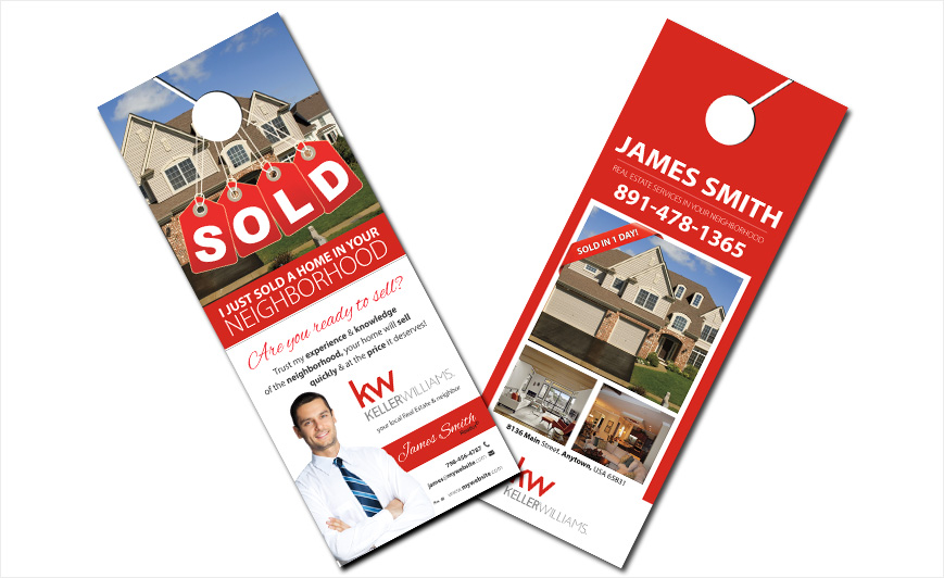 door hanger design real estate. Custom Keller Williams Door Hangers, Hanger Templates, Designs, Printing And Design Real Estate